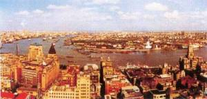 View of Pudong in 1990. The Bund in foreground.